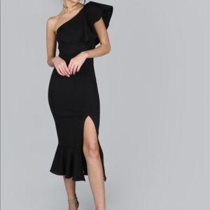 One shoulder peplum dress